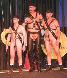 Cam (center) wins Mr. Leather CMEN 2006, Daniel and Daniel are runners up