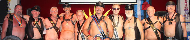 Esteban, Mr. CMEN Leather 2016 with runners up and past winners