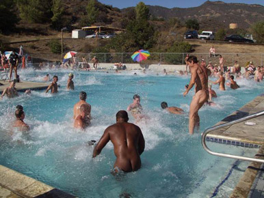 The pool is a popular place for activities during the West Coast Gathering