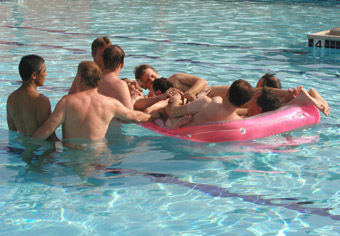 Enjoying the camaraderie at a local CMEN pool party