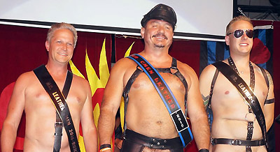 Esteban Bartholo Mr. CMEN Leather 2106 with runners up Chris and Mike